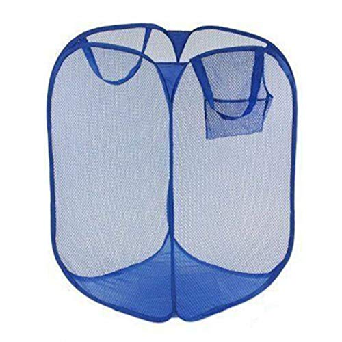 Tailbox Mesh Popup Laundry Hamper - Laundry Basket Folding Pop-Up Clothes Hampers with Durable Handles Solid Bottom High Carbon Steel Frame, Collapsible for Storage and Easy to Open (Blue)