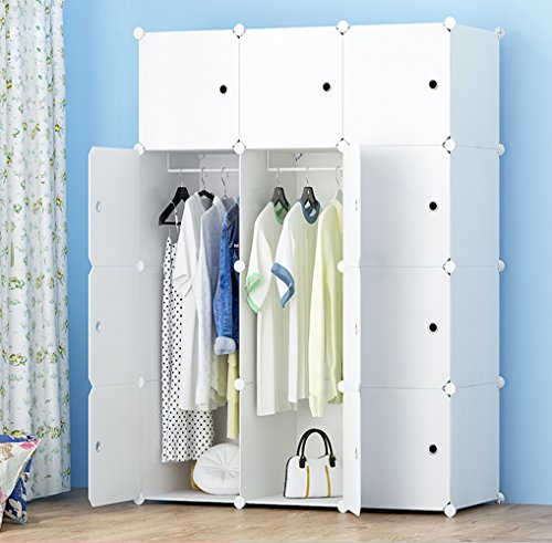 MEGAFUTURE Portable Wardrobe for Hanging Clothes, Combination Armoire, Modular Cabinet for Space Saving, Ideal Storage Organizer Cube for Books, Toys, Towels(12-Cube)