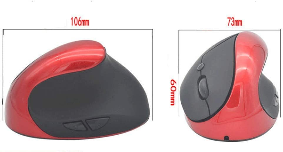 Color : Red TRDyj Mouse Wireless Vertical ergonomics Vertical Vertical photoelectric Built-in Lithium Battery Charging Mouse