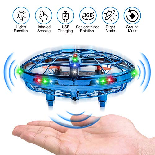 UFO Drones for Kids, Hand-Operated Flying Toys with 360 Degree Rotating, Kim Player Flying Drone with Newest 2 Game Modes - Flying & Ground, USB Charge Cool LED Light Mini Drone for Boys & Girls, Blue