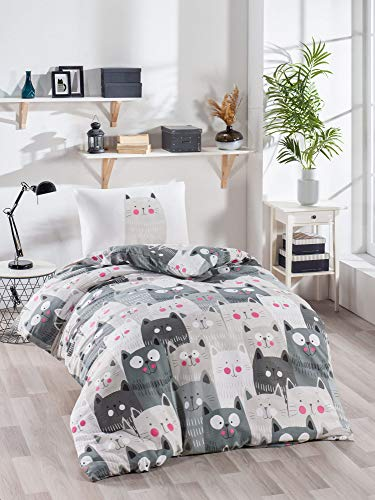 OZINCI Animals Bedding Set Cats Themed Single/Twin Size 1 Duvet Cover 1 Pillow Case Girls Boys Bed Set (2 Pcs)