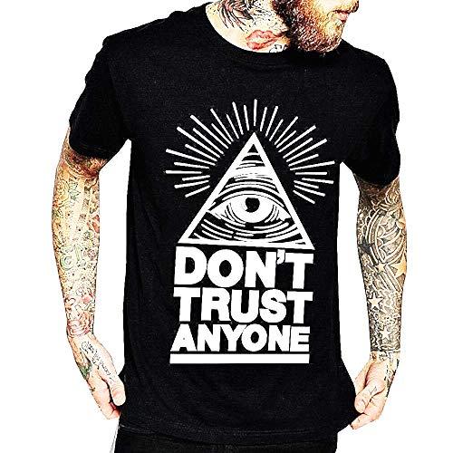 Inception Pro Infinite Maglia Don't Trust Anyone - T-Shirt Maschio - Uomo Illuminati - Occhio Onniveggente - Manica Corta - Massoni - Triangolo - Misura XL - Nero - Idea Regalo Originale