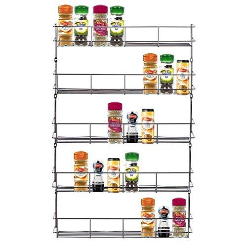 Yontree® 5 Etagen Silbrig Eisen Küchenregal Gewürzregal Gewürzlagerung Haushaltsregal an Wand/Schrank