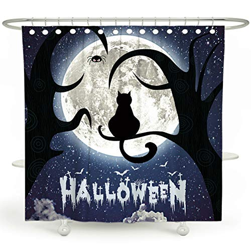 DESIHOM Halloween Shower Curtain Black Cat Shower Curtain Kids Shower Curtain Holiday Shower Curtain for Bathroom Moon Space Shower Curtain Cool Scary Polyester Waterproof Shower Curtain 72x72 Inch