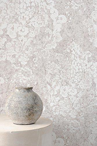 Vlies Tapete Neo Barock Ornament Stein Beton Optik creme grau 218790 Shabby Vintage