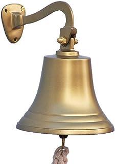"""Hampton Nautical 3xglass-101 Antique Brass Hanging Ship's 11"""" Bell-Nautical Decor, 11 inch,"""