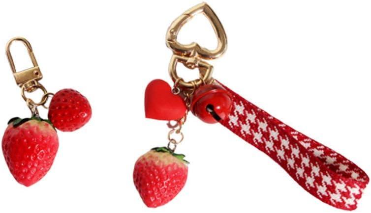 PRETYZOOM Strawberry Design Key Ring Bag Pendant Key Holder Hanging Ornament