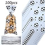 Blulu 100 Pieces Soccer Party Favors Bag Heat Sealable Treat Candy Bags Soccer Goodie Bags Soccer Theme Gift Bags with 100 Pieces Silver Twist Ties for Football Themed Party Favors