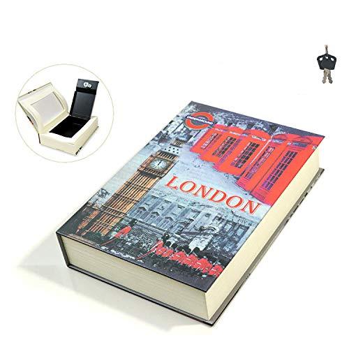 BOOKSAFEBOX Buchtresor Mit Lock Hide Key Buchsafe Mit Echten Papierseiten Buchsafe Box,Mit 2 Schlüsseln,Für Erwachsene Kinder,London