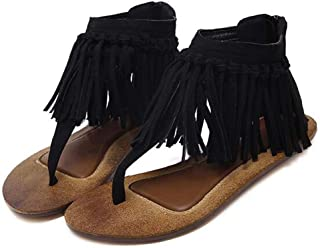 Women's Herringbone Tassels Flat Heel Sandals,Summer Back Zipper Casual Shoes for Various Occasions Such As Wedding,Party,Shopping
