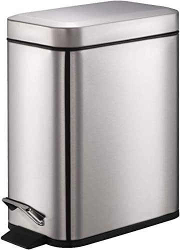 Smartbin 5L Stainless Steel Rectangular Pedal Dust Bin with Silent Lid Garbage Can Kitchen Trash Can Waste Basket Rec...
