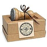 Personalisierter Stempel Initialen 2 Buchstaben, Stempel Individueller Text Name Monogramm, Holz Rund 37 mm, Einzigartige Kraft Geschenkbox