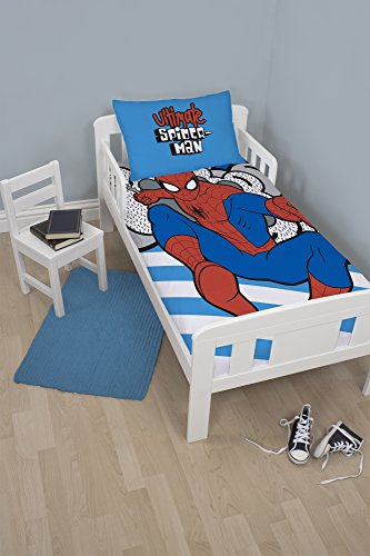 Spiderman Ultimate Junior Juego de Funda de edredón con Funda de Almohada para Cama Infantil de poliéster, Azul, Single