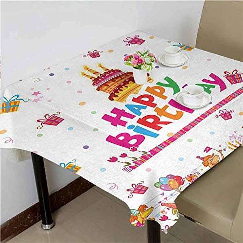Dinning Tabletop Decoration Joyful Mouses Partying Presents and Delicious Cake with Candles Festive Cartoon,50x50 inch Dinning Square Tablecloth (A Killer Whale That Follows Your Mouse)