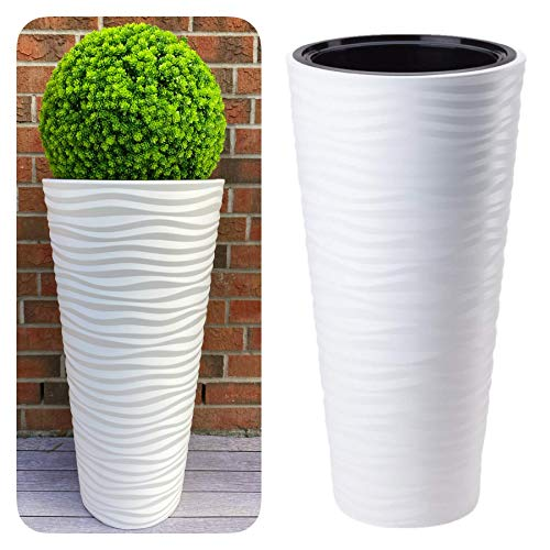MELTOM Vaso sottile rotondo effetto 3D – Onde – Colore: bianco con inserto rimovibile, 40 x 79 cm