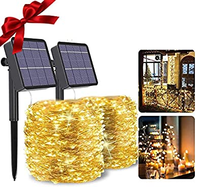 Mega-Loopolis 2-Pack 80Ft 480 LED Fairy Solar String Lights, Waterproof & Durable Twinkle String Lights with 8 Modes for Outdoor/Indoor, Starry Rope Lights for Wedding, Valentines Day,Patio,Garden