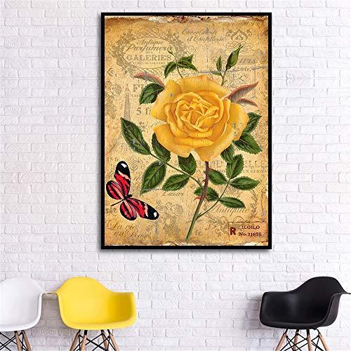 Abstrakte wandbehang Pflanze leinwand kunstwand Retro Wohnzimmer Blume wanddekoration Bild hängen rahmenlose malerei 60X90 cm