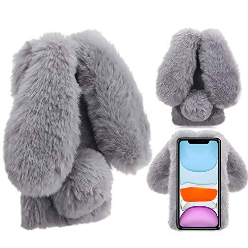 Hase Pelz Hülle für LG Stylo 6,Kristall Schutzhülle für LG Stylo 6,Moiky Luxus Niedlich Diamant 3D Grau Häschenohren Ohr Pelz Netter Warme Winter Plüsch Rabbit Handyhülle mit Soft TPU