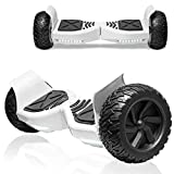 TPS All-Terrain Off-Road Hoverboard 8.5' Wheels Electric Self Balancing Scooter Hover Board for Adults and Kids Built-in Bluetooth Speaker and LED Lights UL2272 Certified (White)