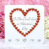 Handmade 'To The One I Love' Valentines Card, 3D Red Heart, for Wife Husband Girlfriend Boyfriend