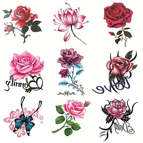 DSSJ [50 Stück Set] Tattoo-Aufkleber wasserdichte weibliche langlebige Rose Flower Butterfly Persönlichkeit Kleine frische Tattoo Cover Narbenaufkleber