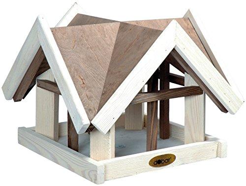 Luxus-Vogelhaus 47880e utarbetat fågelhus i antikfinish design (scratch) av glaserad furu med 4 gavlar, brun/vit