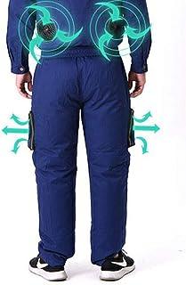 Pantalones Aire Acondicionado Pantalones Frescos del Verano, con El Ventilador De La Chaqueta, Ropa Ventilador Seguro De Trabajo Trajes,Azul,L