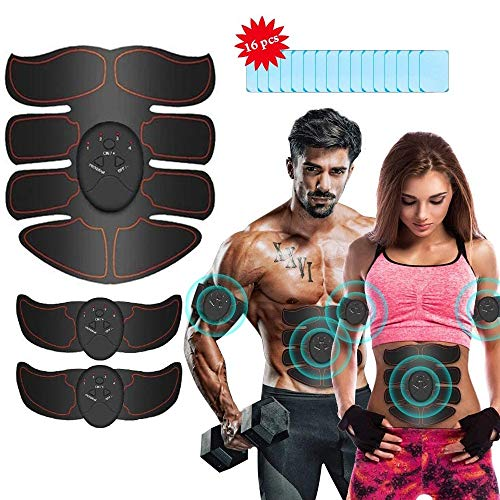 Abs Stimulator Muscle Toner, iThrough Muscle Stimulator Abdominal Muscle Trainer Ab Maker for Men and Women,Electric Stimulators Fitness with 16Pcs Abs Gel Pads