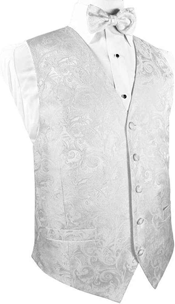 White Silk Tapestry Paisley Tuxedo Vest and Bow Tie