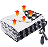 Big Ant Heated Car Blanket, 12V Electric Car Blanket Ultra Thick Car Heating Blanket with Temperature Controller & Overheat Protection, Heated Blanket for Car, Truck, RV, Home or Office - 145x105cm