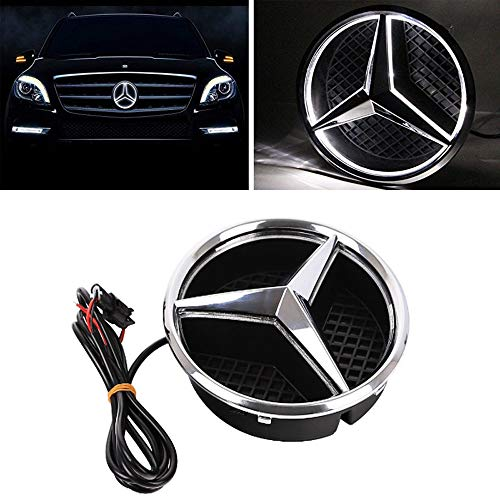 Cszlove Car Front Grilled Star Emblem LED Illuminated Logo Center Front Badge Lamp Light Works with Mercedes Benz 2013-2015 A B C E R GLK ML GL CLA CLS Class - White Light