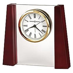 Howard Miller Keating Table Clock 645-801 – Rosewood & Glass with Quartz, Alarm Movement