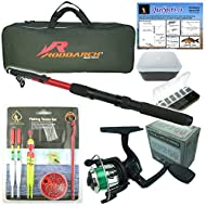 Fishing Rod: 2.0mtr (6ft) fibreglass telescopic rod with lined stainless steel eyes and storage cap. Neoprene handle with screw adjustable reel mount. NEW UPGRADED GRAPHITE HUNTER PRO REEL! Now includes the high quality HUNTER PRO HP200XR Reel. Fishi...