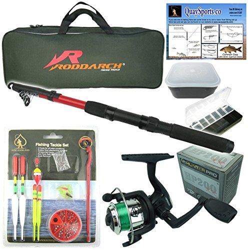 Roddarch Junior beginners Fishing Kit Set Novice Starter fishing set includes Rod Reel Tackle Bait Box Tackle Box Storage Bag Quality Brand