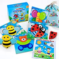 LITTLE PRODIGY Wooden Animal Puzzles for Toddlers 1 2 3 4 Year Old Girls & Boys, Sensory Toys, Bright Vibrant Colors, Educational Learning Toys, 4 Puzzles + Gift Box + Bag + Matching Coloring Book
