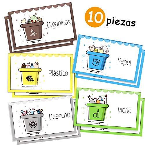 Opret 10 Pegatinas Reciclaje, Etiquetas Adhesivas para Reciclaje Pegatinas para Cubo Basura Reciclaje, 6 x 10cm Cada uno