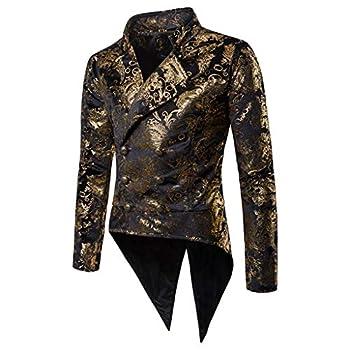 Luxfan Mens Vintage Tailcoat Tuxedo Gold Print Double Breasted Blazer Jacket Coat  Black L