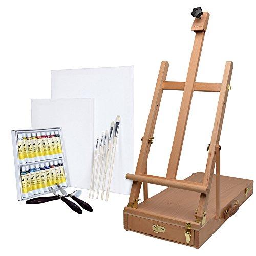 Artina Le Mans - Set de Pintura - Caballete de Pintura maletín de Madera de Haya, Colores acrílicos, Pinceles, lienzos