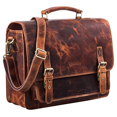 STILORD 'James' Leder Business Briefcase voor Mannen Dames Vintage Schoudertas met 14 inch laptop compartiment grote lederen tas voor docenten kantoor en werk, Kleur:kara - cognac