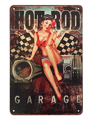 AOYEGO Pin Up Girl Tin Sign,Hot Rod Garage Woman Beautiful with Bikini Sit Auto Parts Vintage Metal Tin Signs for Cafes Bars Pubs Shop Wall Decorative Funny Retro Signs for Men Women 8x12 Inch