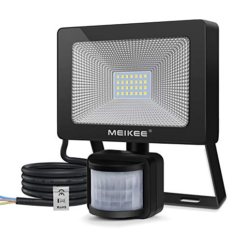 MEIKEE 25W Foco LED con Sensor de Movimiento, Proyector Led Exterior con Detector 2500LM, Blanco Frío 6500K, Impermeable IP66, Lámpara Iluminación de Seguridad para Jardín, Patio, Garaje