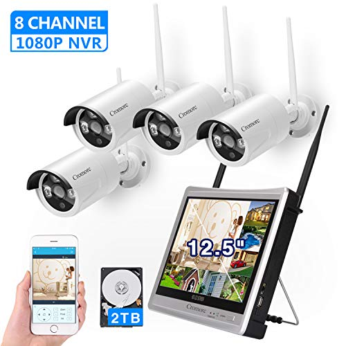 """[8CH,Expandable]All in one with 12.5"""" Monitor Wireless Security Camera System, Cromorc Home Business CCTV Surveillance 8CH 1080P NVR, 4pcs 1.3MP 960P Outdoor Indoor Night Vision Camera, 2TB Hard Drive DVR Kits Surveillance"""