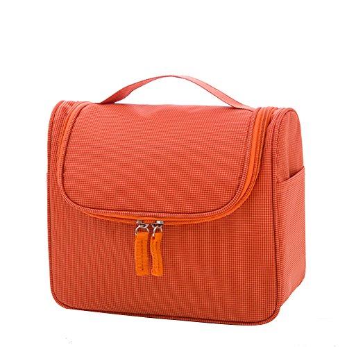 Qearly Sac de toilette avec multi couleurs Trousse de Toilette sac pochette pour cosmétiques-Orange