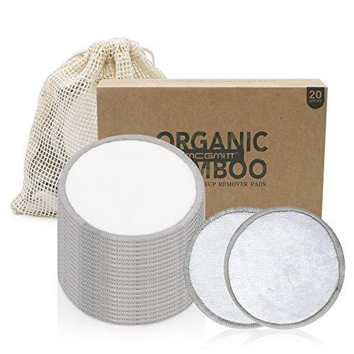 Herbruikbare make-up remover pads 20 Pack bamboe katoen wasbaar herbruikbare make-up pads met waszakken 8cm ronde milieuvriendelijk voor gezicht/oog/toners schoonmaken