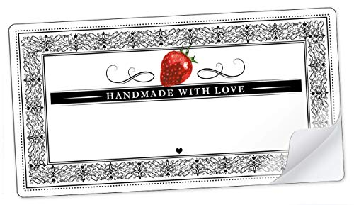 20 STICKER RECHTECKIG WEIß SCHWARZ ROT mit Erdbeere und Ornamente