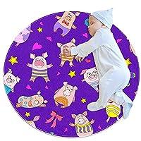 ベビーラウンド用プレイマット、クロールマットカーペットヨガエクササイズマット瞑想マット家の装飾滑り止めペットラグパターン面白い漫画豚紫色