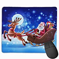クリスマスサンタクロース マウスパッド 25x30cm レーザー&光学マウス対応 防水/洗える/滑り止め 中型 ブラック