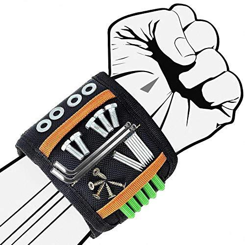 ASANMU Männer Magnetisches Armband Werkzeug, Magnetarmband Handwerker Einstellbare Magneten für Schrauben Nägel und Bohrer Magnetische Armbänder Personalisierte Geschenke für Männer Frauen DIY Gadget