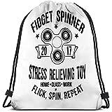 Bolso con Cordón Fidget Spinner Tipografía Imprimir Blanco