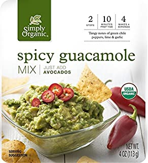 Simply Organic Spicy Guacamole Dip Mix | Just Add Avocados | Certified Organic | 4 oz. (Pack of 6)